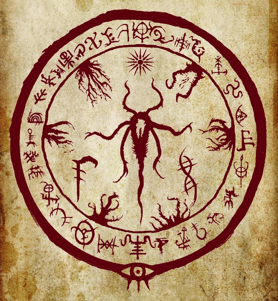 Эмблема, обнаруженная на страницах саркического гримуара. Ввиду её особого значения, вариации этой печати (и её отдельные символы) встречаются на местах обнаружения саркитов по всему миру.|width=300px