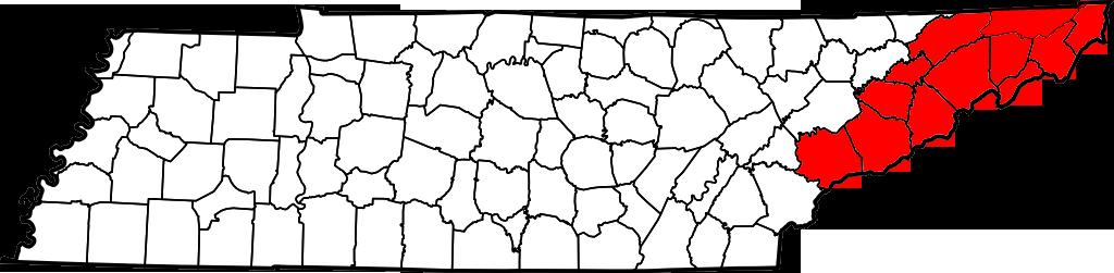 Расположение региона проявления SCP-1328на карте штата Теннесси, США