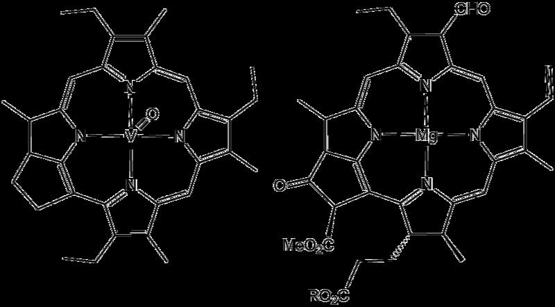 Формулы преобразованной и нормальноймолекул хлорофилла