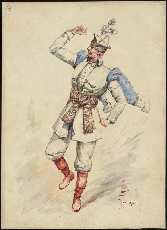 Эскиз костюма герцога Рикардо _для оперы «Красная канарейка».