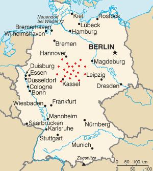 Места известных инцидентов SCP-3023 (отмечены красным).