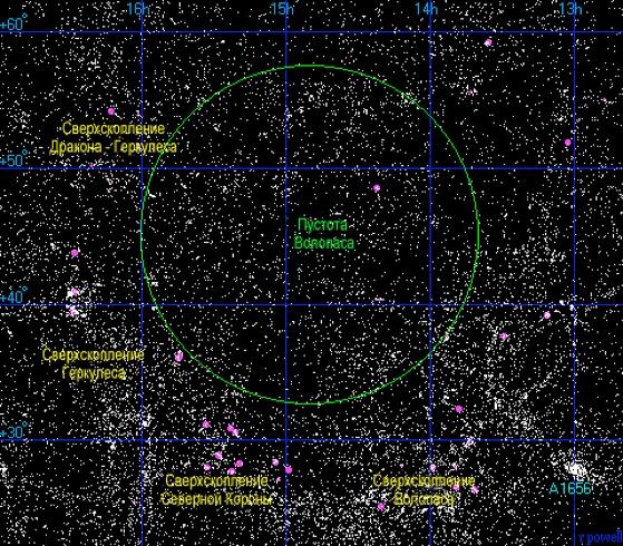 Карта SCP-3200 в представлении деятелей официальной науки. Все видимые точки представляют звезды/галактики перед аномалией.