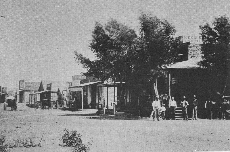 Главная улица города Темперанс, 1866.|width=300px